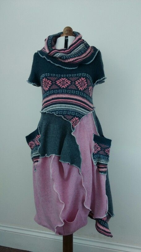 """ Pod "" dress, made from several wool & wool-acrylic sweaters."