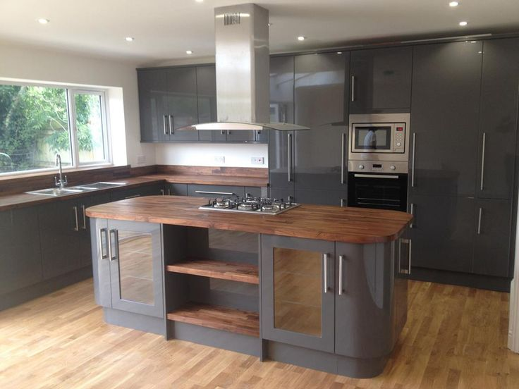 Grey kitchen walnut worktop google search kitchen for Kitchen units grey gloss