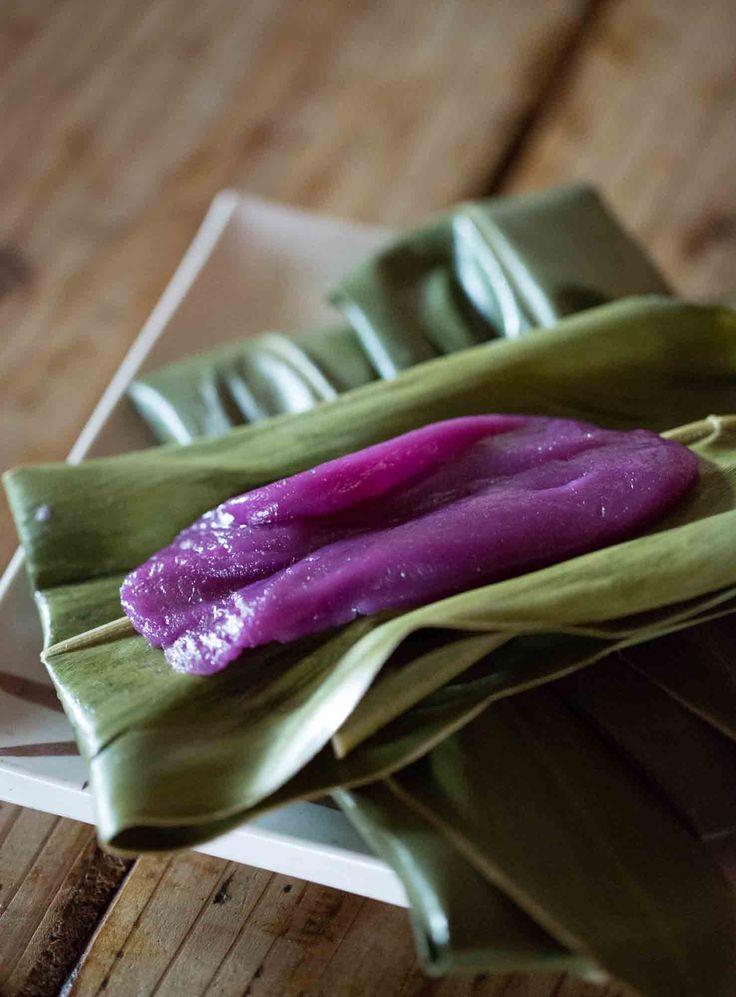 Sweet purple potato rice cakes (purple potato mochi) | Okinawa Muchi