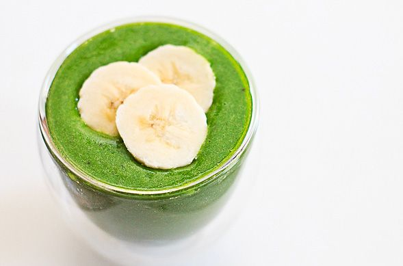 Spinach-Banana Smoothie --  This sounds gross, but is one of my favorite smoothies.  You can add yogurt, almond milk, protein powder, other fruits.... or just have as is. Always makes me feel more energetic.