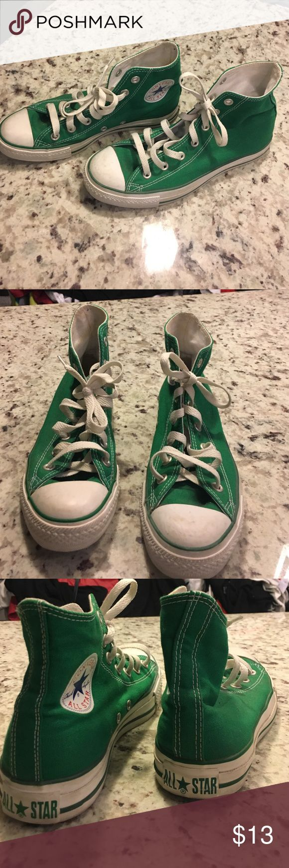 Green High Top Chucks - Converse size 8 worn a handful of times, good condition. Converse Shoes Sneakers