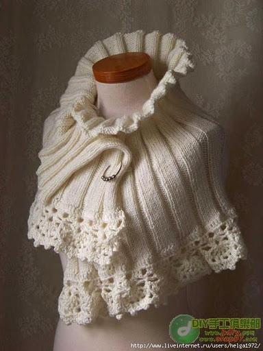 écharpe tricot + crochet