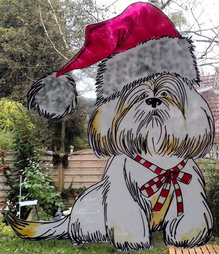 WICOART STICKER WINDOW COLOR CLING GLASS PAINT NOEL CHIEN BLANC CHRISTMAS DOG