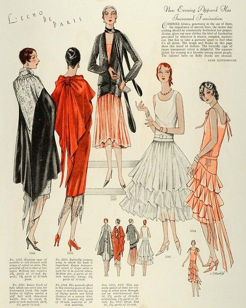 Evening apparel, McCall's, 1928. I think that pink dress has potential...