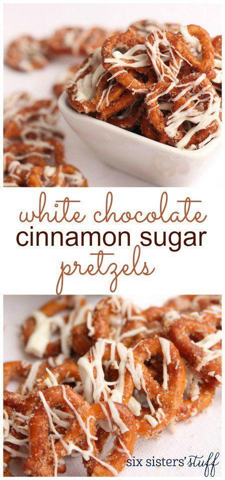 White Chocolate Cinnamon Sugar Pretzels Recipe / Six Sisters' Stuff | Six Sisters' Stuff