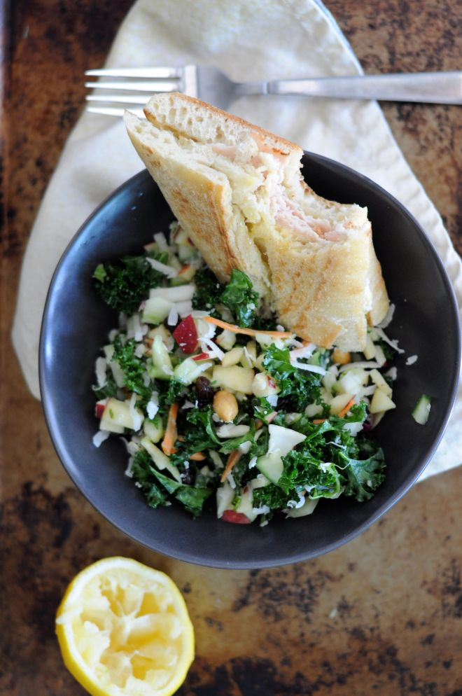 kale and apple salad up on the blog! lesswithbread.me