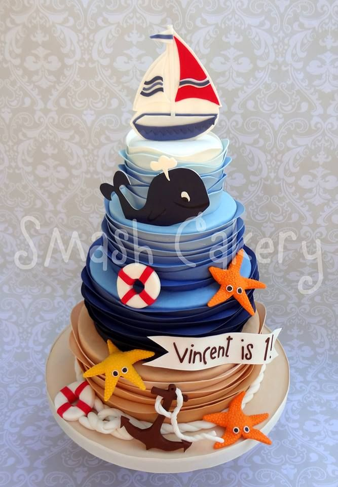 Nautical Birthday Cake   All Fondant With Fondant And Gumpaste Figurines   Used The Wave Tutorial That Lesley With Royal Bakery Posted On Craftsy