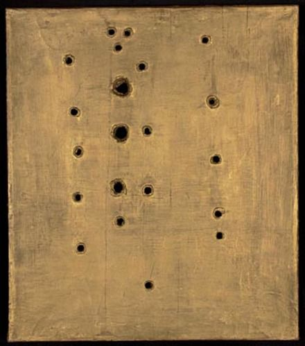 Lucio Fontana, Concetto spaziale, Attesa (1958)  http://www.artexperiencenyc.com/social_login