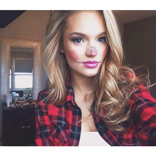 Chic sexy trendy girl next door #halloween #scarecrow super easy costume makeup!: