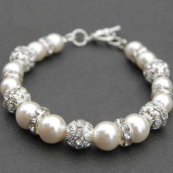 Bridal Ivory Pearl Rhinestone Bracelet, Bling Wedding Jewelry, Bridesmaid Gift. $24.00, via Etsy.