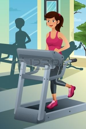 A vector illustration of a young beautiful woman running on a treadmill in a gym