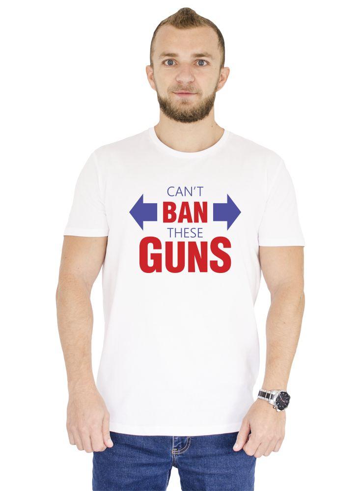 "Tricou  alb pentru sala din bumbac 100% cu mesajul: ""Can't Ban These Guns"". Gulerul este rotund cu banda intaritoare pe marginea de jos a acestuia. #gym #man #style #ootd #fashion #tshirt"