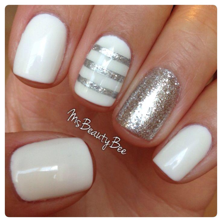 Diseño de uñas con nuestro tono Arctic Freeze (White) y Silver Glitter de Gelish. Diseño de Martha Stewart #Manicure #Gelish #Design #Nails