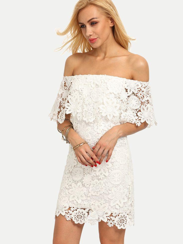 Spitze Bodycon Kleid rückenfrei mit Rüschen in weiß