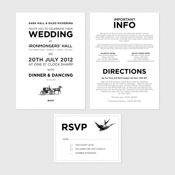 Information To Include In Wedding Invitations: Info Card Wording