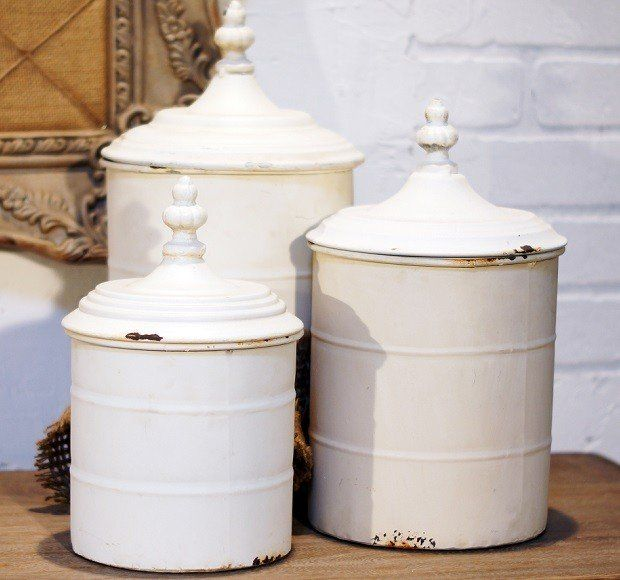 White Metal Canisters | Decorative Metal Containers Antique Farmhouse