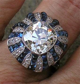 Art Deco Diamond & Sapphire Ring 1920's