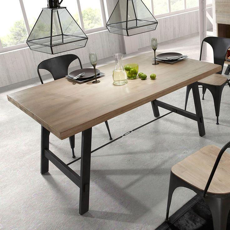 Tavolo da pranzo in legno e metallo Easy, design moderno. 105x210 cm in legno di acacia. Colore Grigio. In abbinamento la con la sedia modello Juan. By Viadurini Living. [www.viadurini.it]