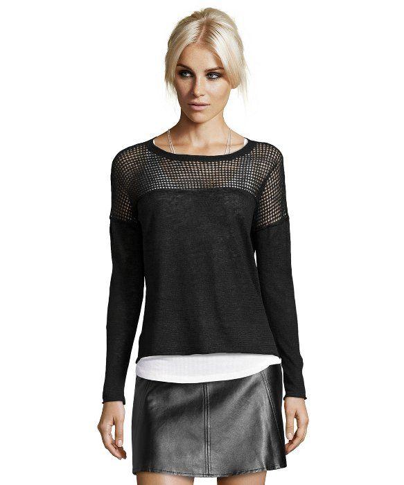 Wyatt black and white open knit crewneck sweater