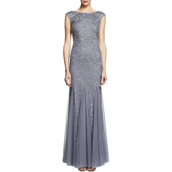 Pre-owned Adrianna Papell Sterling Cap Sleeve Beaded Mermaid Formal... ($280) ❤ liked on Polyvore featuring dresses, gowns, sterling, cap sleeve gown, adrianna papell dresses, formal ball gowns, formal dresses and beaded dress