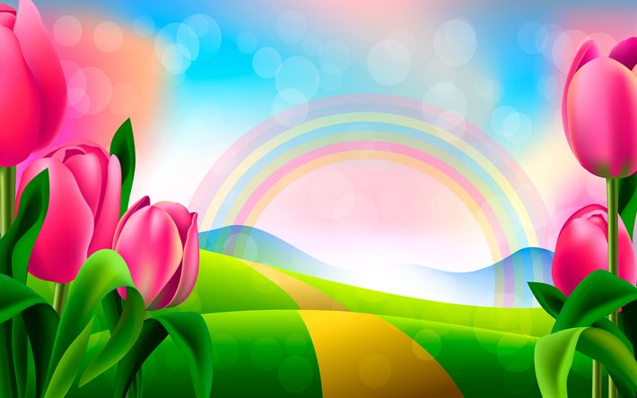Download wallpapers pink tulips, rainbow, road, field, summer