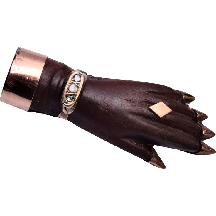 10kt Gold, Gutta Percha and Mine Cut Diamond Hand Brooch