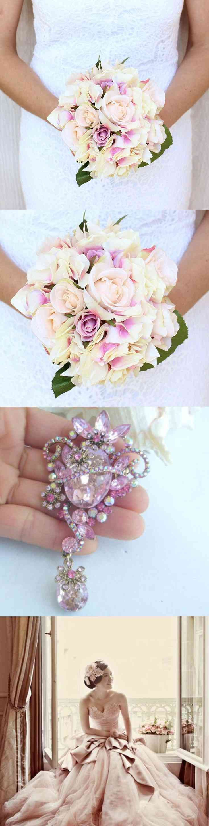 Wedding Bouquet, Bridal, Wedding Flowers, Silk flowers hand made, Bohemian Sash, Hairpiece, Hair Accesory, Brooches, Flower Crown brooch  Antique Rose Bouquet Sherbet   Thank you (via pushapin.com)