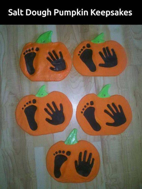 Salt dough handprint and footprint pumpkin keepsakes!