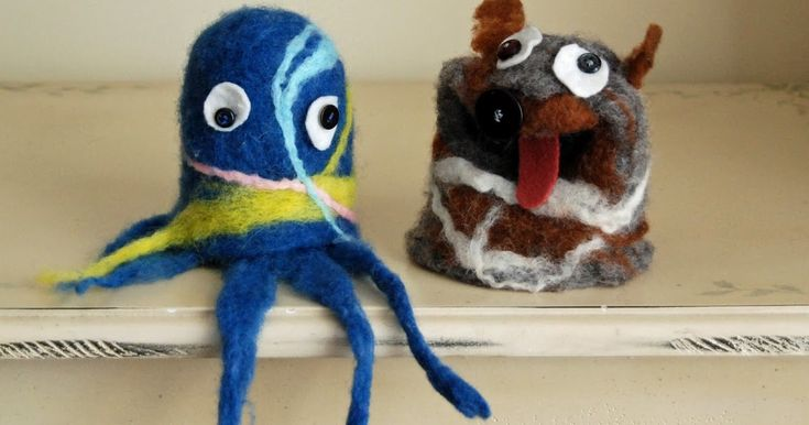Here are some felted puppets my kids made about a month ago.    Jeff (age 7) made the dog and it hasn't left his side since, except for a...