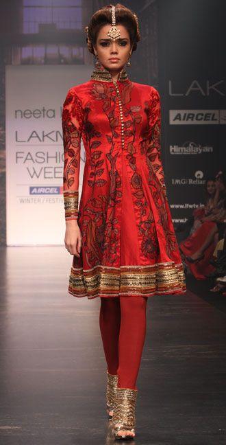 Neeta Lulla. Kalamkari W/F LFW 13'. Indian Couture.