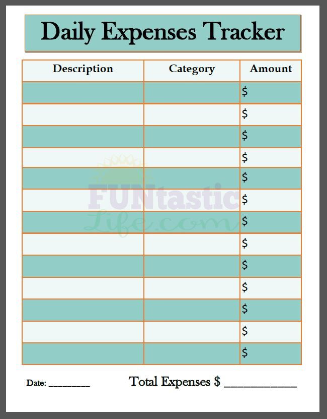 free printable daily expenses tracker