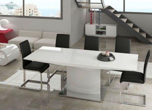 Mesa de comedor moderna, columna y tapa lacado en blanco.