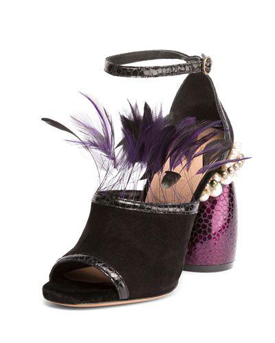 DRIES VAN NOTEN Suede Sandal W/Feather Trim, Black/Purple. #driesvannoten #shoes…