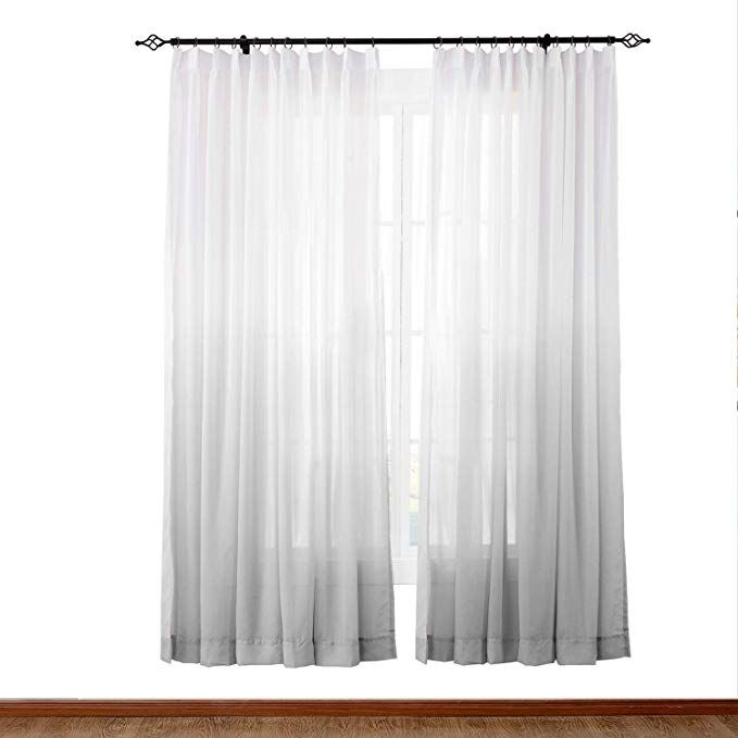 Chadmade Indoor Outdoor Gradient Ombre Sheer Curtain Pinch Pleat