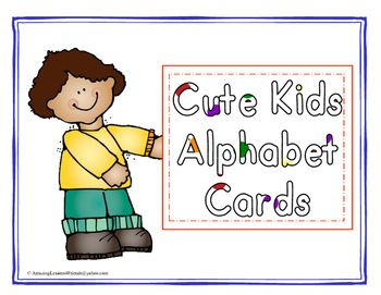 Cute Kids Alphabet Cards:  Print on card stock paper and laminate, this will help your cards last longer.