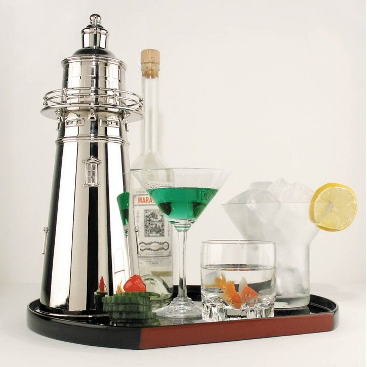 Lighthouse Cocktail Shaker Nautical Home Decorating