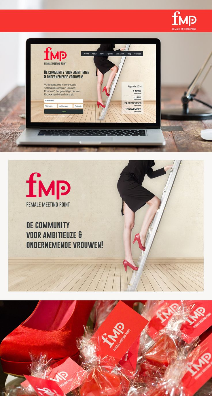 """Female Meeting Point es una comunidad holandesa de mujeres que ofrece a las mujeres emprendedoras profesionales un servicio para apoyar a mejorar el rendimiento personal y de sus negocios. La mujer es el eje central. FMP las acompaña a las cumbres """"Más allá de sus expectativas"""". En conjunto con nuestra socia Carolina Zayat, se le diseño la imagen de marca, la dirección de arte de los eventos y el diseño web."""
