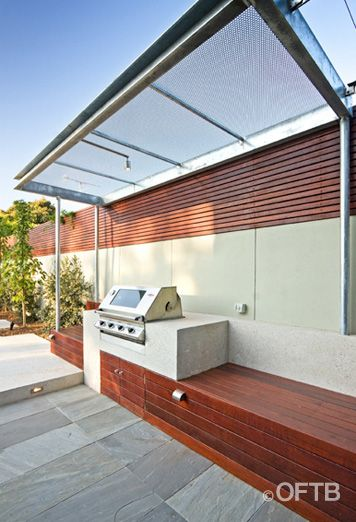 OFTB Melbourne landscaping, pool design & construction project - pool & spa inc. water feature, pool terrace, raised pool lounge, outdoor entertaining inc. bbq & canopy, garden beds, lawn