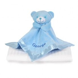 Blue Teddy Comforter & White Shawl - The perfect gift for a Christening