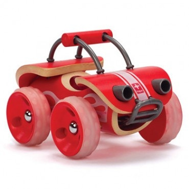 I like the wheels. wood wheels with silicone molded tires would be great... Hape e-vehicles bamboo toys | The Natural Baby Company $25