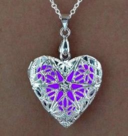 Purple Filigree Glowie jewelry - Glow in the dark heart locket pendant necklace