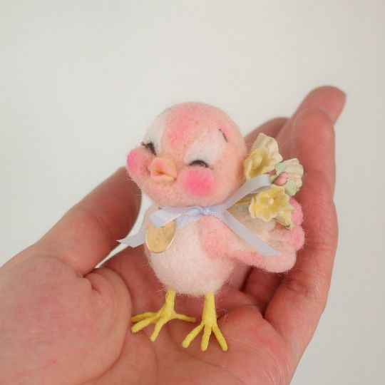 Pink needle felted easter chick