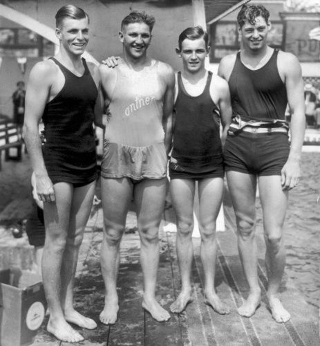 Buster Crabbe (far left) and Johnny Weissmuller (far right), Olympic swimmers, 1928. Both later were Tarzan actors.