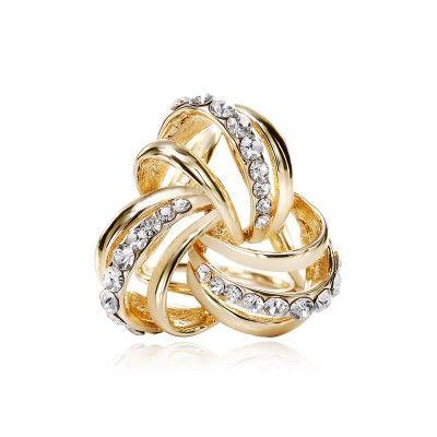 Rhinestone Celtic Knot Scarf Ring Holder Gold