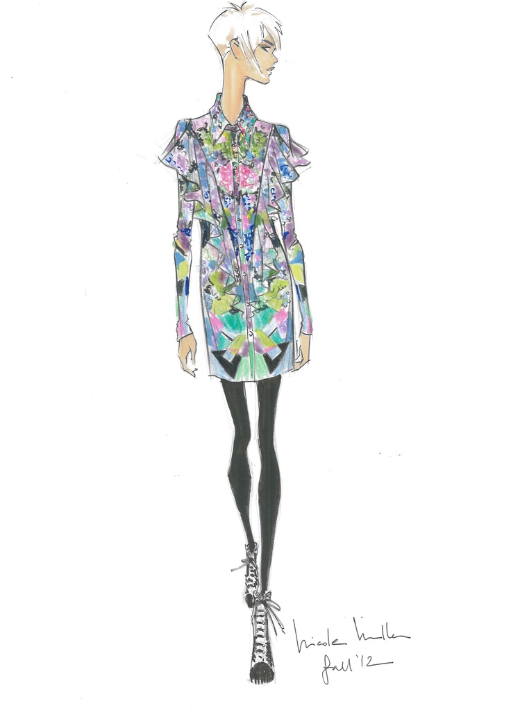 """Parallel Times"" is Nicole Miller's  inspiration for her Fall 2012 collection.: Design Illustrations, Miller Sketch, Dresses Sketch, Fall 2012, Sketch Fall, 2012 Fashion, Miller Illustrations, Fashion Illustrations, Fashion Sketch"