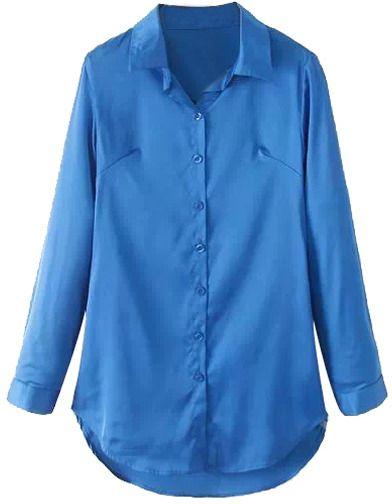 ROMWE Asymmetric Long Blue Shirt
