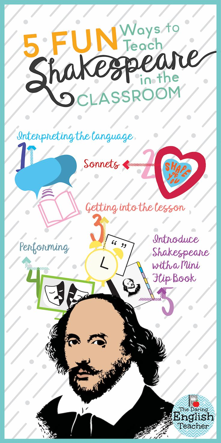 Five fun ways to teach Shakespeare in the classroom. Here are five fun Shakespeare activities for the high school English classroom.