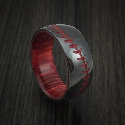 Black Zirconium Baseball Stitch Ring with Custom Color and Bahama Cherry Wood Sleeve
