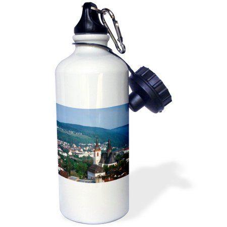 3dRose Germany, Rheinland-Pfalz, Bingen am Rhein, City view., Sports Water Bottle, 21oz