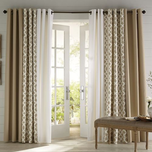 Two panels are not going to do it when it comes to hanging curtains. To have the right kind of fullness, be sure to make your curtains at least twice, or two and a half times, the size of your window, so that they gather nicely. Layering sheers with heavier fabrics is also a nice way to achieve a full look.  ~ Great pin! For Oahu architectural design visit http://ownerbuiltdesign.com
